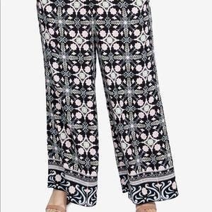 Tile Print Floral Wide Leg Curvy Pants